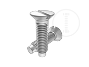 90°Slotted countersunk head screws with full dog point