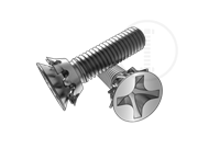 90° Cross recessed countersunk head screw and countersunk serrated lock washer assemblies